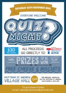 2021 Teenage Cancer Trust Quiz Night Poster